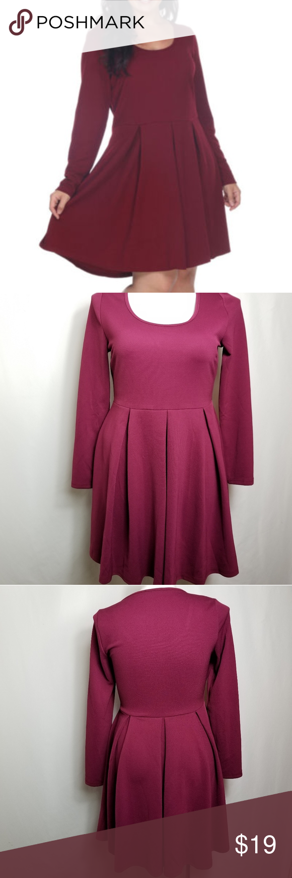 White Mark Burgundy Long Sleeve Fit Flare Dress White Mark Burgundy Long Sleeve Fit Flare Dress Size Xl Excellent C Fit Flare Dress Clothes Design Fashion [ 1740 x 580 Pixel ]