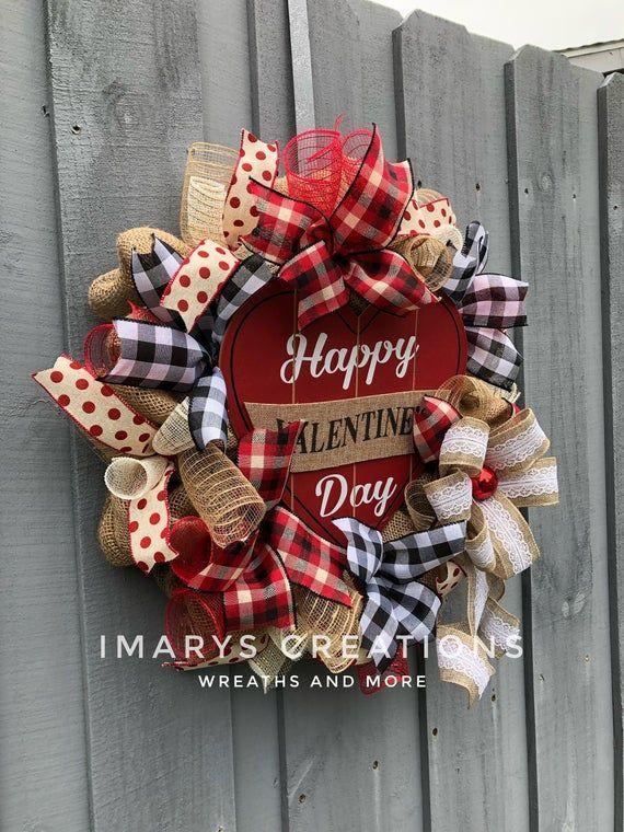 Photo of Valentine's Day Wreath, Valentine's Day Decor, Valentine's Day Wreath, Rustic Country Burlap, Valent …