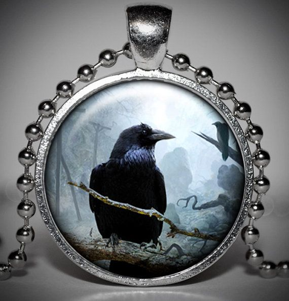 Crow Halloween Pendant  Halloween Necklace  Halloween by Jaylos, $8.00