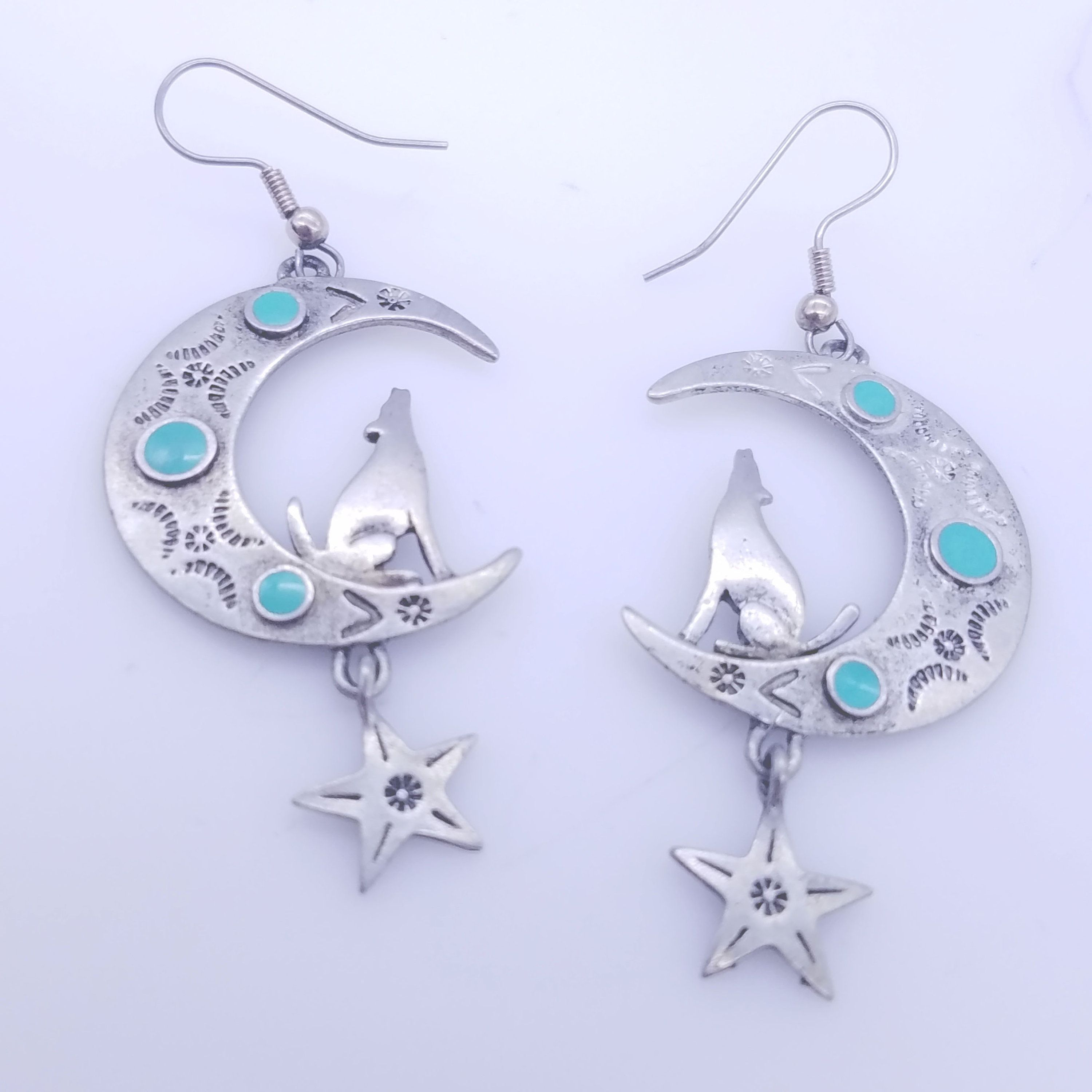 Coyote Moon Amp Star Pewter Earrings With Turquoise