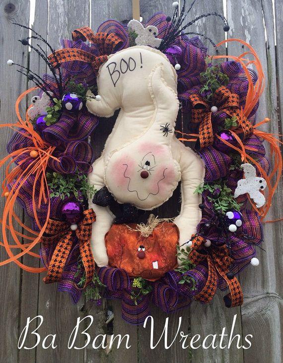 Halloween Wreath, Halloween Ghost, Ghost Wreath, Halloween Decor - halloween ghost decor