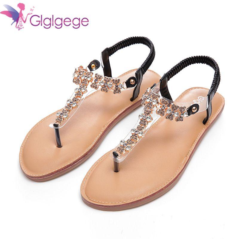 Glglgege 2018 Woman Sandals Flat Sandals Fashion Rhinestones Chains Shoes  Gladiator Flat Sandals Summer Open Toe c8f7d49b1a59