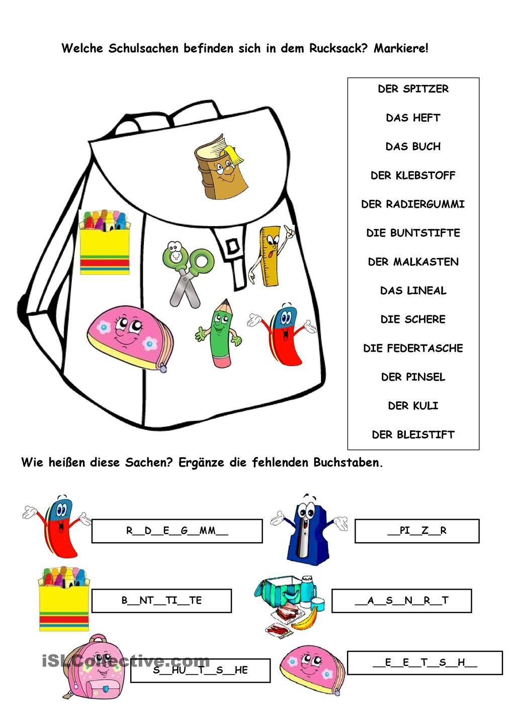 Schulsachen | Languages: German | Pinterest | German, Learn german ...