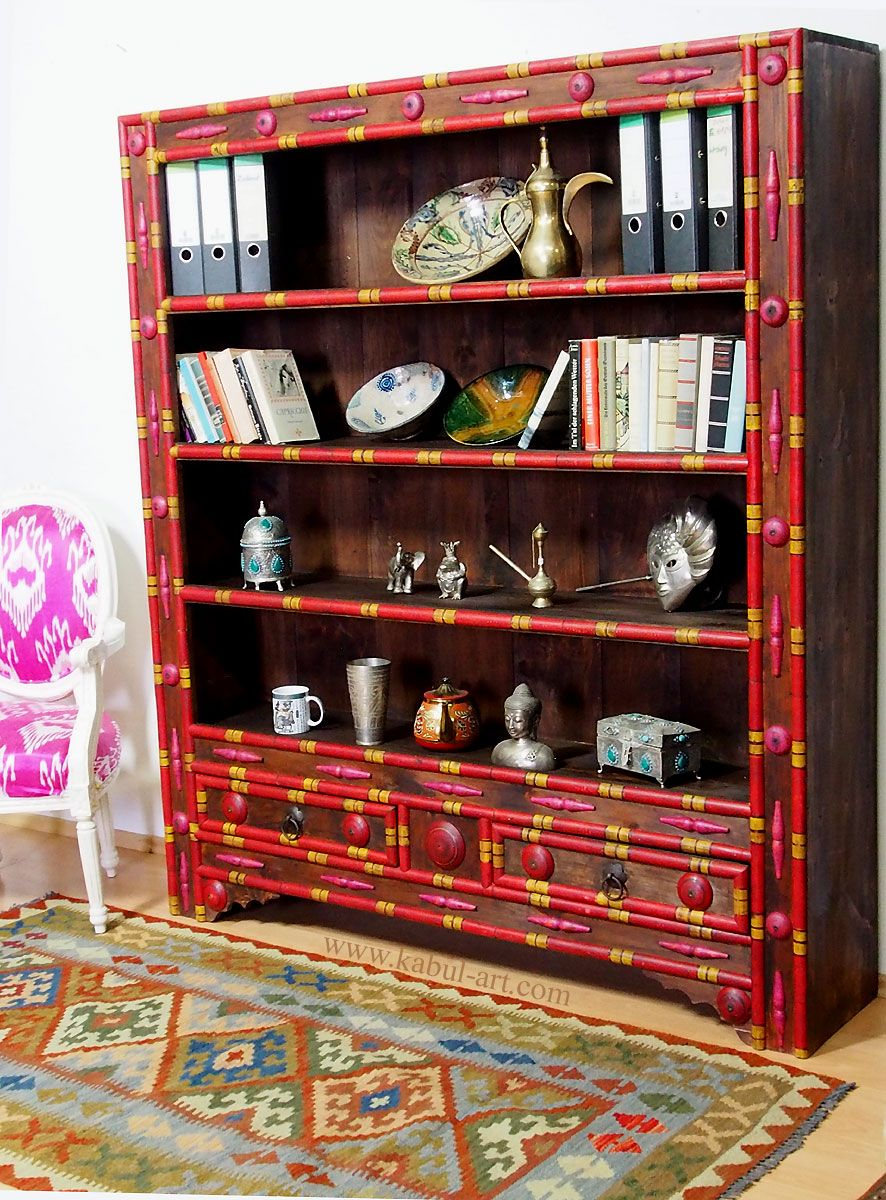 Antik Look Orient Massivholz Wohnzimmerschrank Regal Schrank