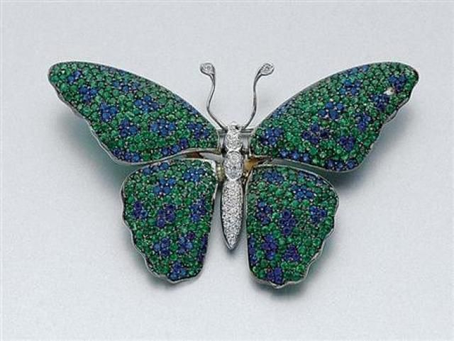1b189d06554 Green Garnet, Sapphire and Diamond Butterfly Brooch for Sale at Auction on  Tue, 12/04/2007 - 07:00 - Important Estate Jewelry   Doyle Auction House