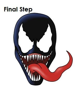 How To Draw Venom Final Step Kids Crafts In 2019 How To Draw
