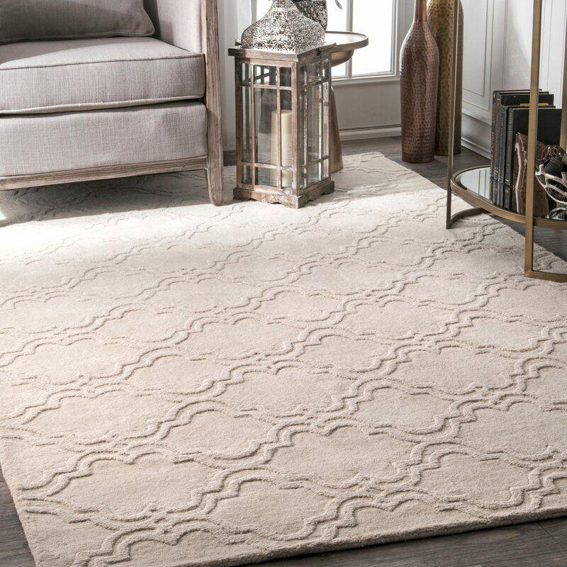 Alonza Geometric Handmade Tufted Wool Ivory Area Rug Area Rugs Wool Area Rugs Modern Trellis