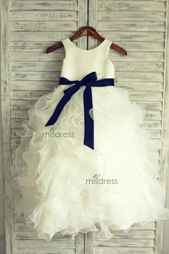 Organza TUTU Ruffles Flower Girl Dress/Navy Blue Sash Wedding Easter Junior Bridesmaid Baptism Baby Infant Children Toddler Kids Dress on Etsy, $65.99