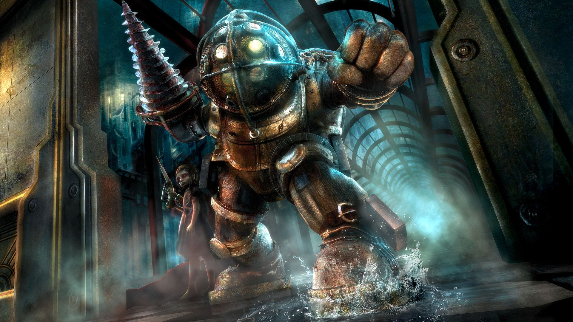 Bioshock Big Daddy And Little Sister Wallpaper