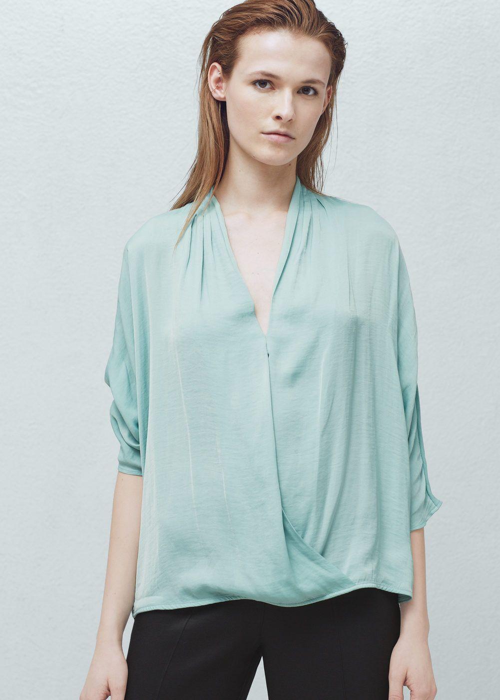 Wrap v-neckline blouse | Neckline, Wraps and Clothes