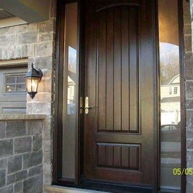 exterior door woodgrain front single rustic fiberglass with 2 frosted side lights installed by door replacement toronto in oakville