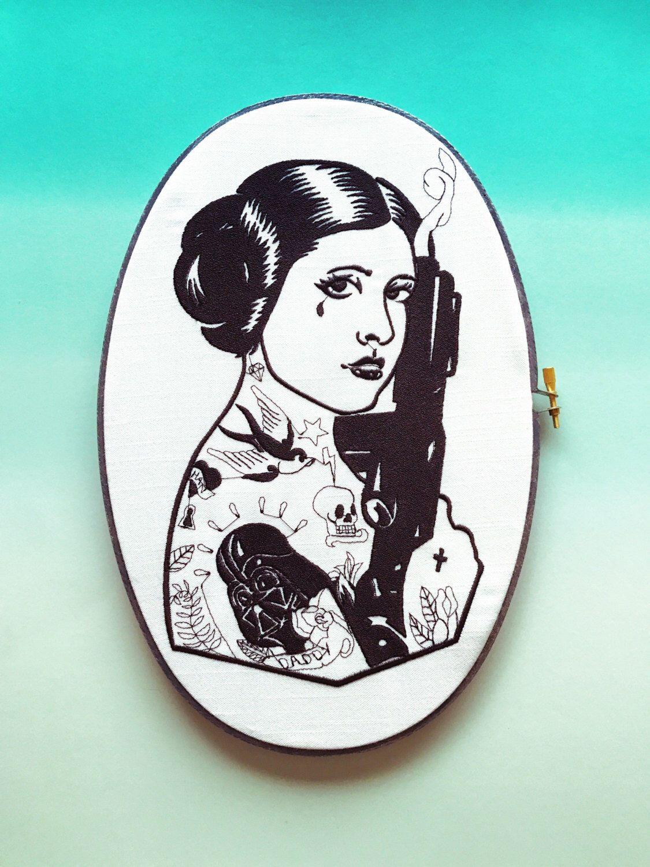 A personal favorite from my Etsy shop https://www.etsy.com/listing/491372684/princess-babe-star-wars-fan-art-hoop-art