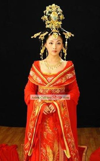 7aeabb7a31 China Tang Dynasty Ancient Palace Phoenix Empress Wedding Costumes Complete  Set This is more of a dream wedding dress