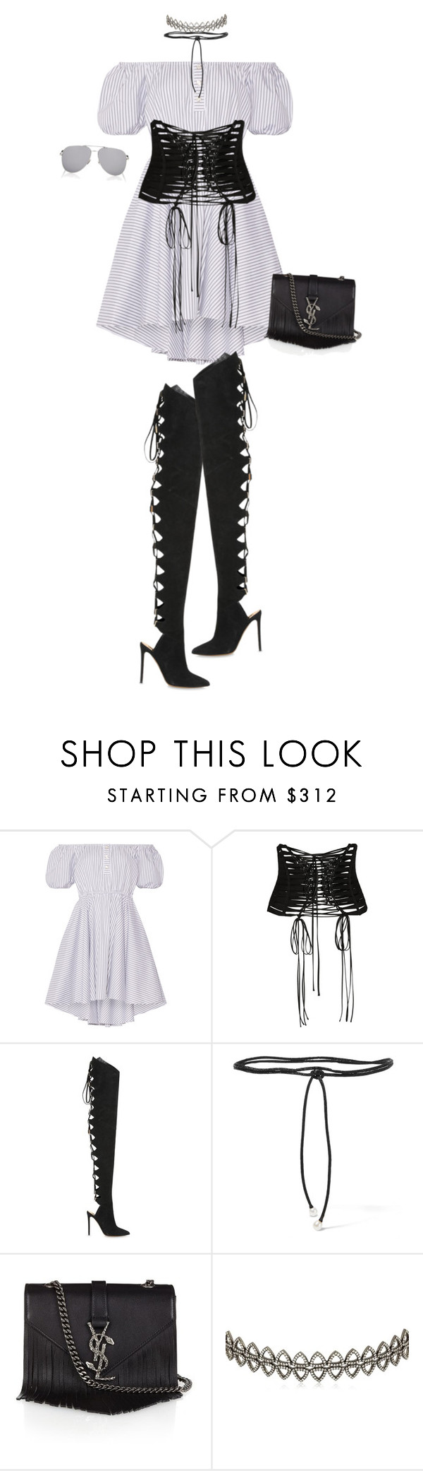 """Laced Up"" by miumiuceline ❤ liked on Polyvore featuring Caroline Constas, Dolce&Gabbana, Alexandre Vauthier, Aamaya by priyanka, Yves Saint Laurent, Assya London, StreetStyle, NYFW and laceup"