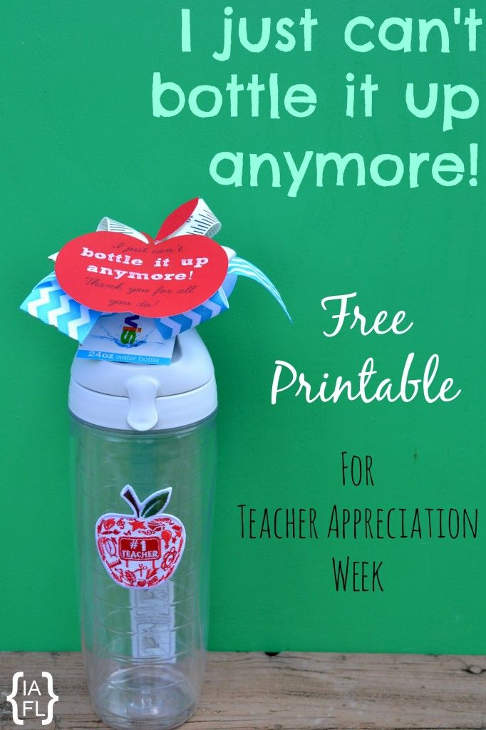 9a9f48584b080 Teacher Appreciation Gift Idea! Teacher Water Bottle Printable Gift Tag -  The teachers are going to love these!  )