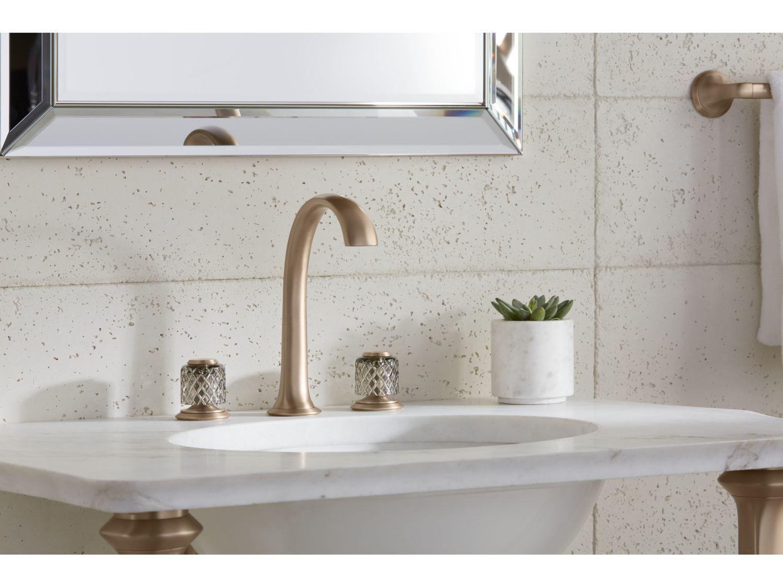 Sink Faucet Arch Spout Saint Louis Crystal Flannel Grey Knob