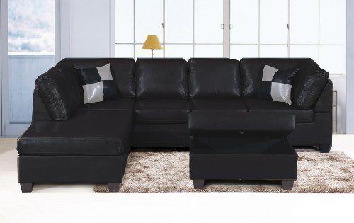Surprising Sabedilla 3 Pc Faux Leather Sectional Sofa With Storage Spiritservingveterans Wood Chair Design Ideas Spiritservingveteransorg