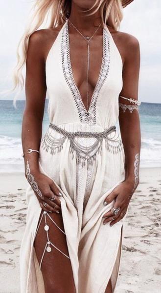Gypsy Coin Leg Chain Silver Boho Body Jewelry Festival Ornament Bohemian Leg Jewelry 15
