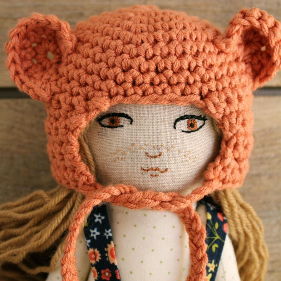 Embroidered doll. Linen and cotton. Crochet bonnet. Fabric doll. Handmade doll.
