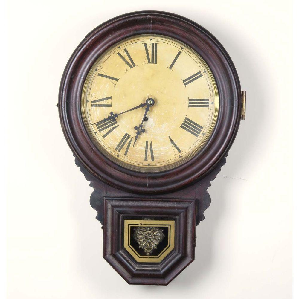 E Ingraham Dew Drop wall clock schoolhouse antique key wind Bristol ...