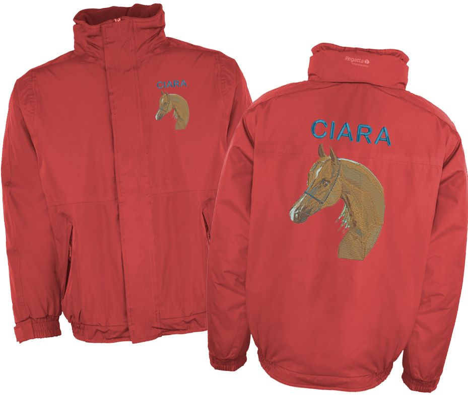 Custom embroidered equestrian jackets with personalised text or logo for  horse riding clubs etc.