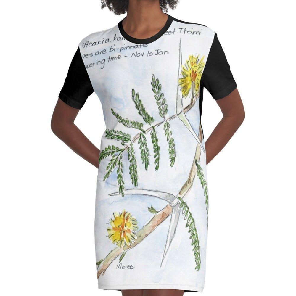 Acacia Karroo   Botanical Illustration Graphic T shirt Dress by Maree Clarkson Gallery