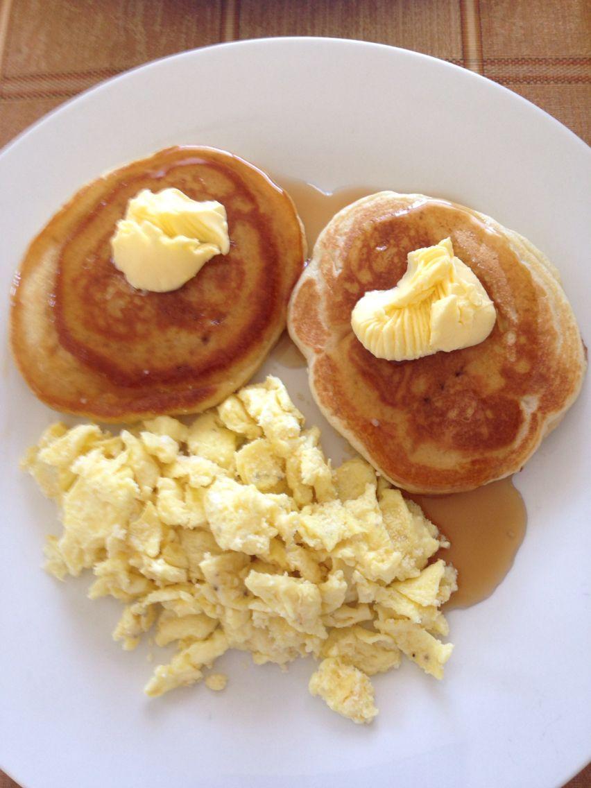 Pancake Con Huevos Revueltos Food Breakfast Pancakes