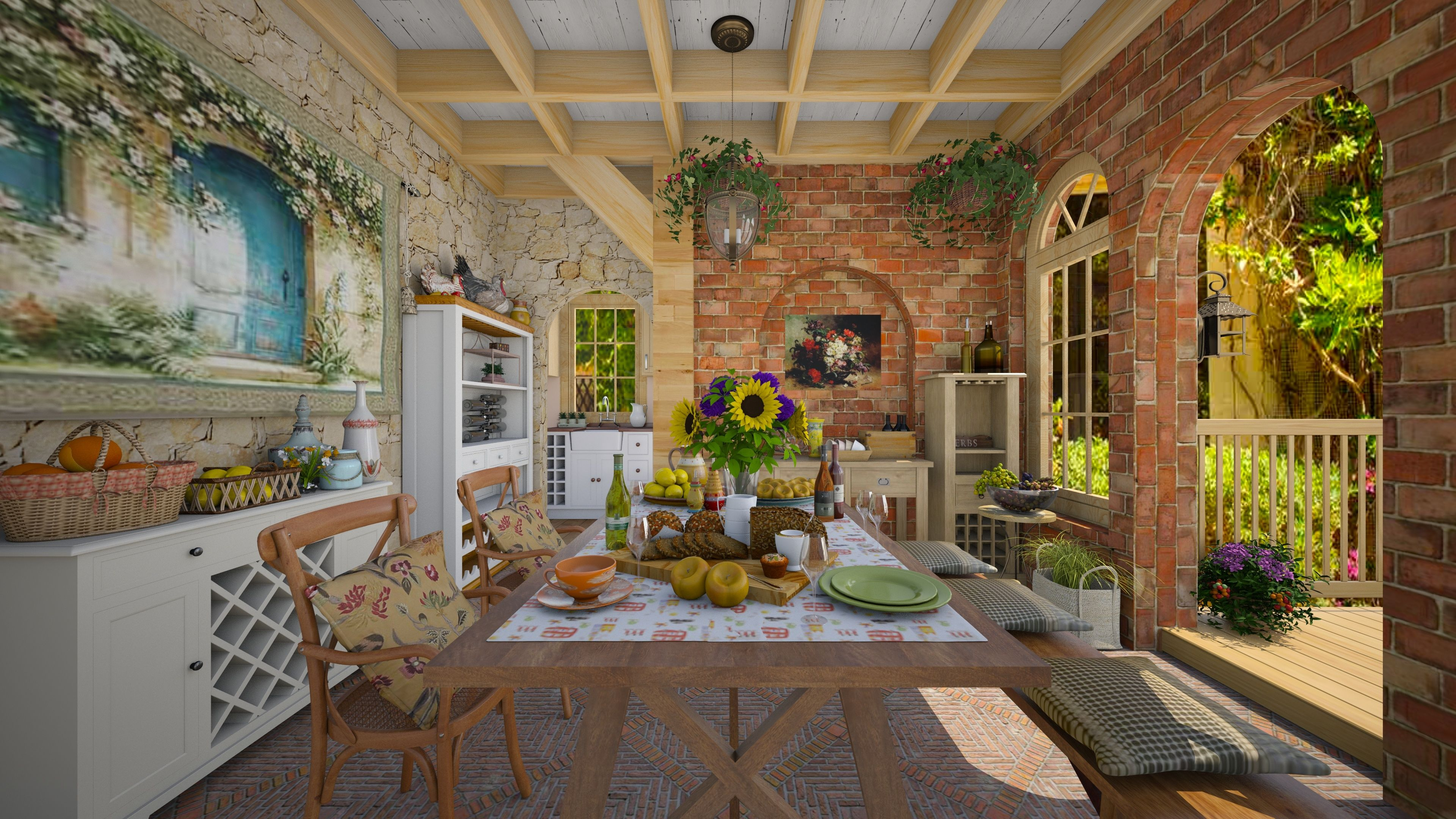 Great semi open kitchen with a big door to the porch by for Roomstyler kitchen