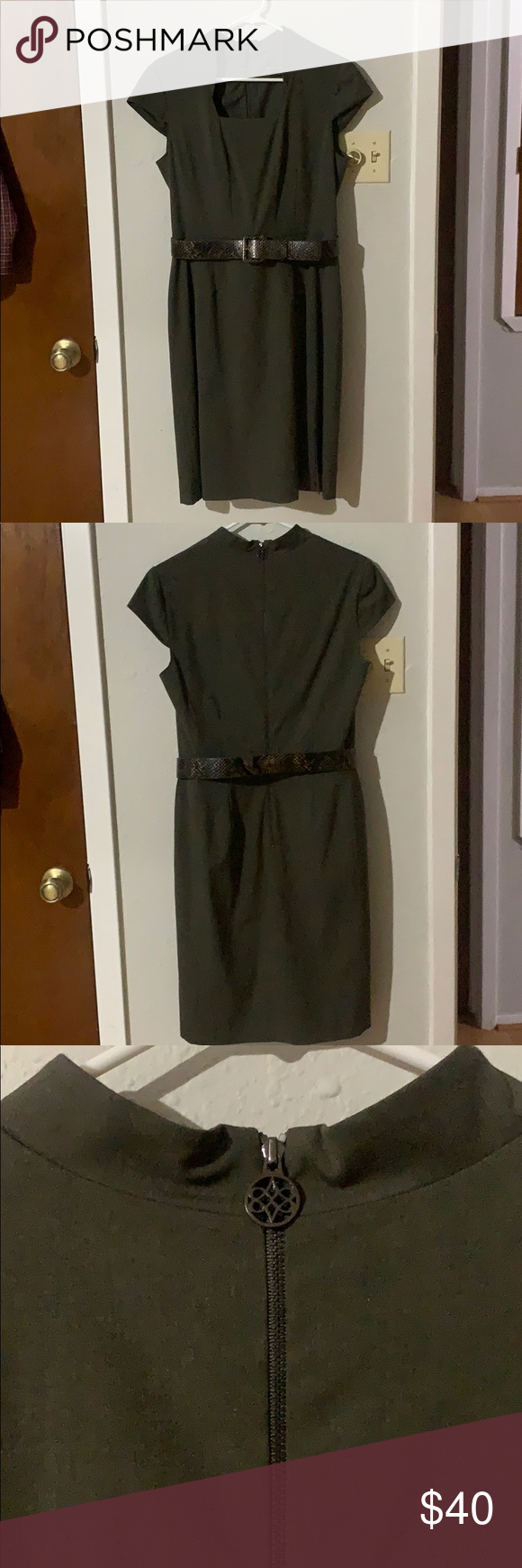 Antonio Melani Sage Green Dress a EUC. Sage green with snakeskin style belt. Form fitting and stretchy ANTONIO MELANI Dresses #sagegreendress Antonio Melani Sage Green Dress a EUC. Sage green with snakeskin style belt. Form fitting and stretchy ANTONIO MELANI Dresses #sagegreendress