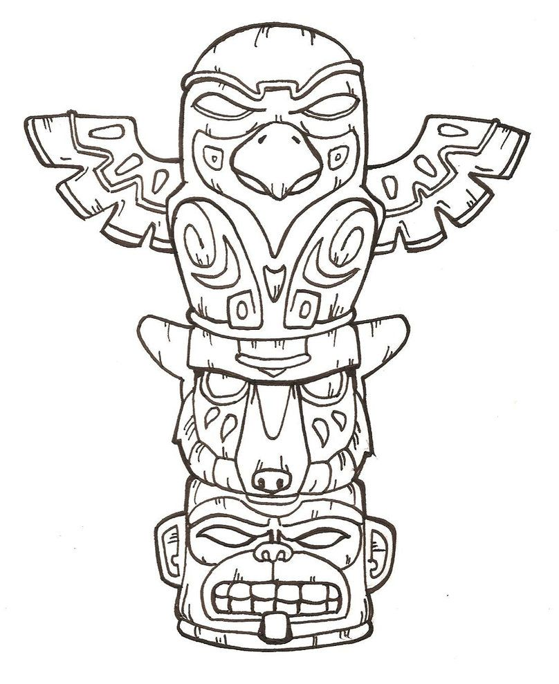 animal totem poles free printable totem pole coloring pages for kids [ 808 x 989 Pixel ]