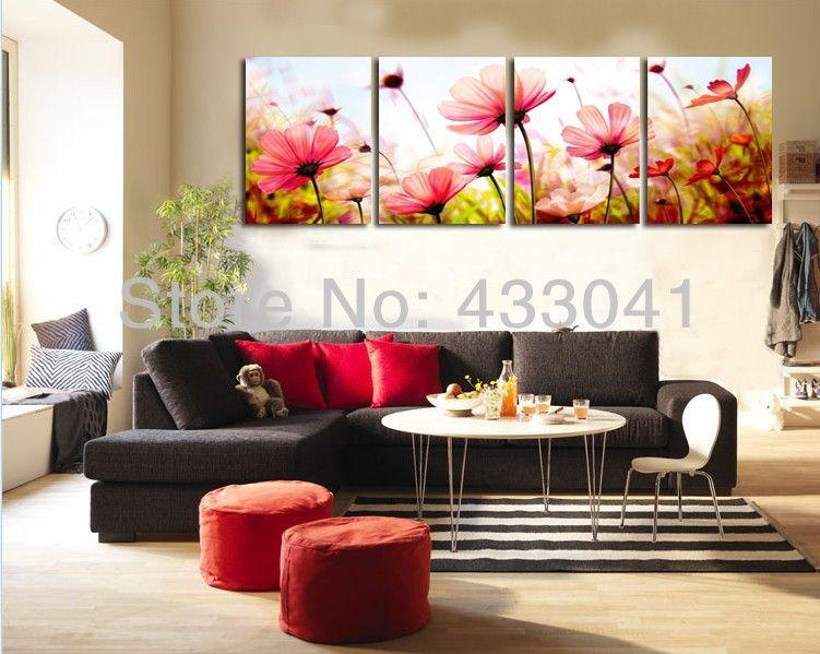 Cheap pintado a mano 4 unidades pintura al leo flores for Pinturas para dormitorios