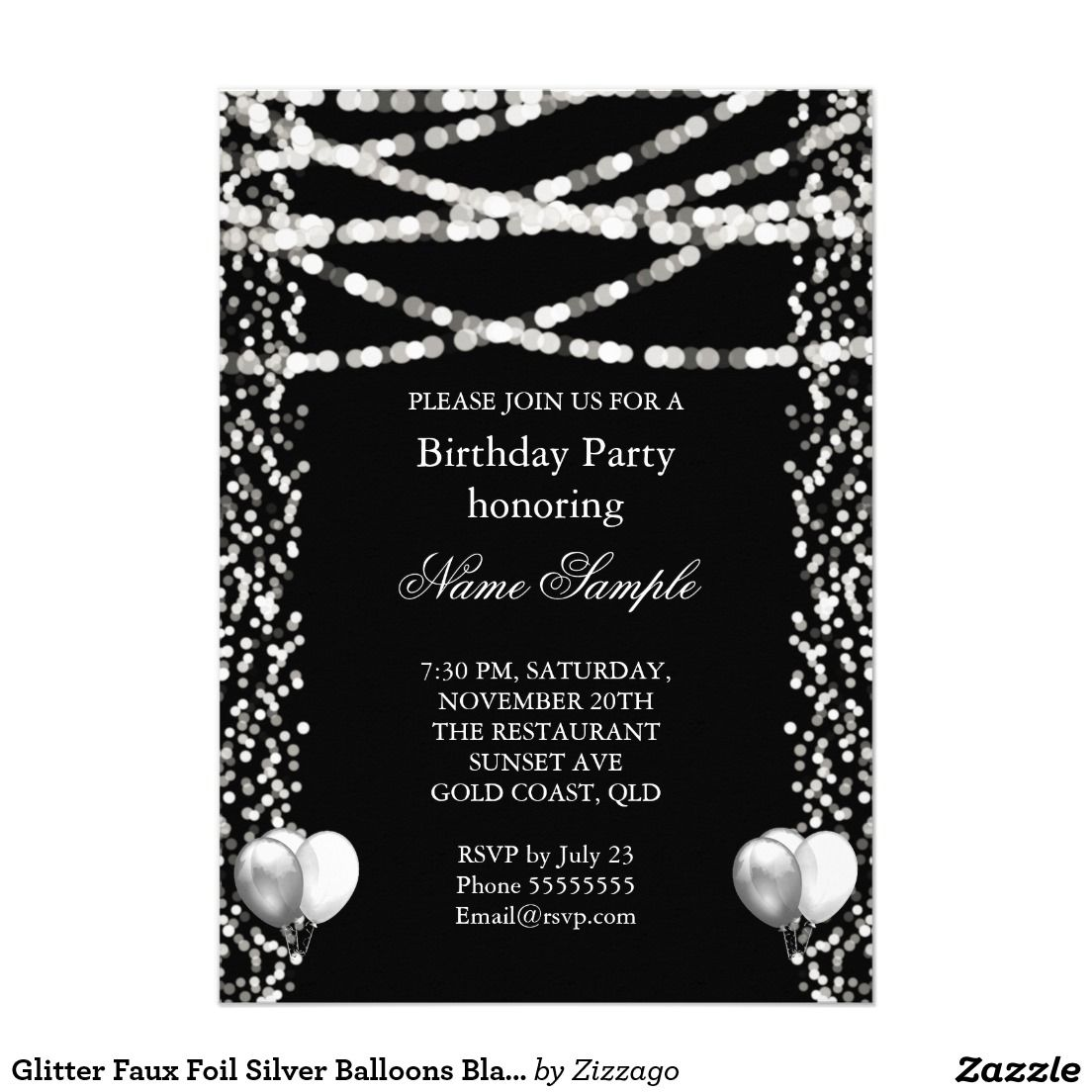 Glitter Faux Foil Silver Balloons Black Birthday 5x7 Paper Invitation Card