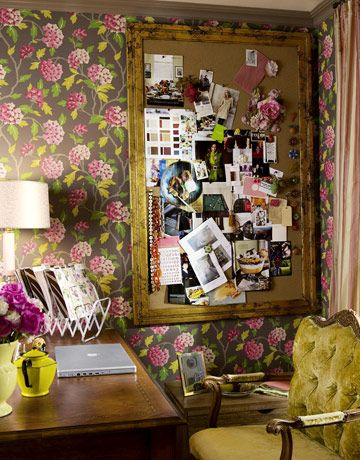 decorating vintage curtains | ... Office and Guest Room Makeover - Office Decorating - Country Living