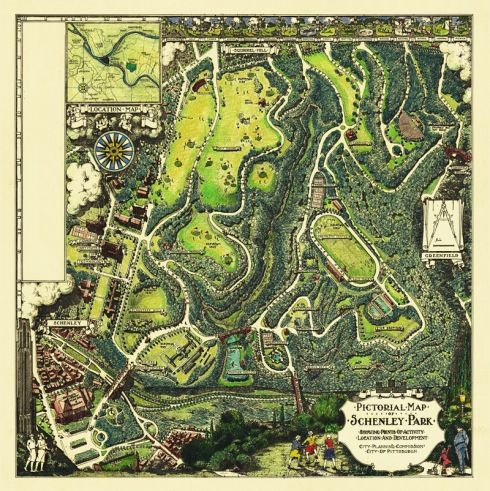 Vintage Schenley Park Map Pittsburgh Map Illustrated Map Pictorial Maps