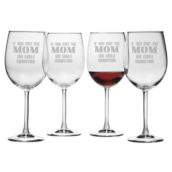 If you met my Mom you would understand.  This set of whimsical wine glasses will surely bring a smile.
