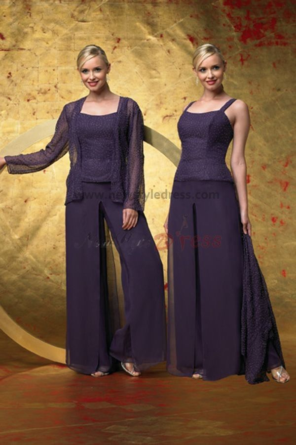 Grape Scoop Spring Cheap Three Piece mother of the bride dress pants ...