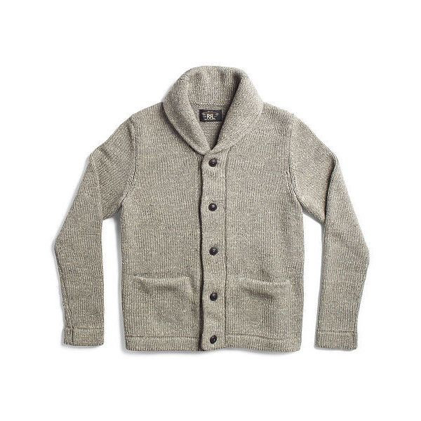 Ralph Lauren Rrl Cotton Shawl-Collar Cardigan ($495) ❤ liked on Polyvore  featuring