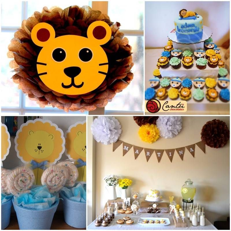 Decoracion de baby shower de leon cumples party en for Decoracion para bebe varon