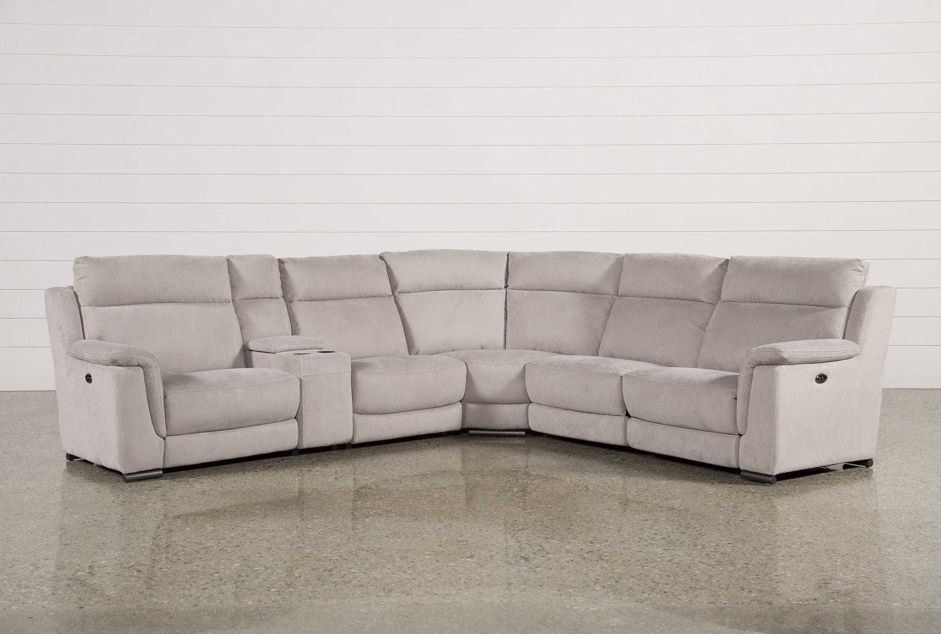 6 Piece Power Reclining Sectional Kerwin Silver Grey Sofas