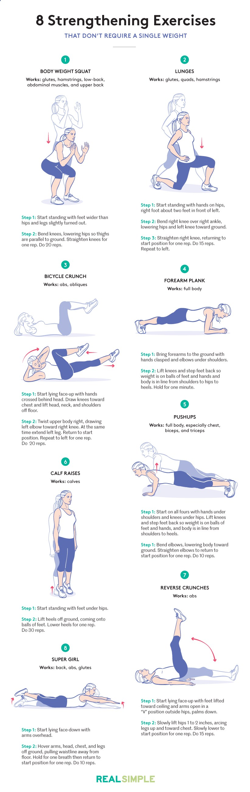 Do this program, which was designed by Olson, four times a week for six weeks. In that time youll get stronger overall, which translates to a tighter physique, says Olson. Because the moves can be done anywhere, you can fit in this workout on the fly, even if you're stuck on a conference call or in a far-flung hotel.