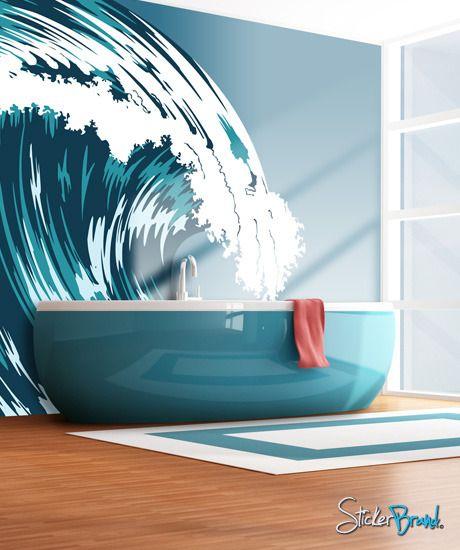 Cool Ocean Wave Wall Mural Graphic Vinyl Wall Decal Aqua Ocean
