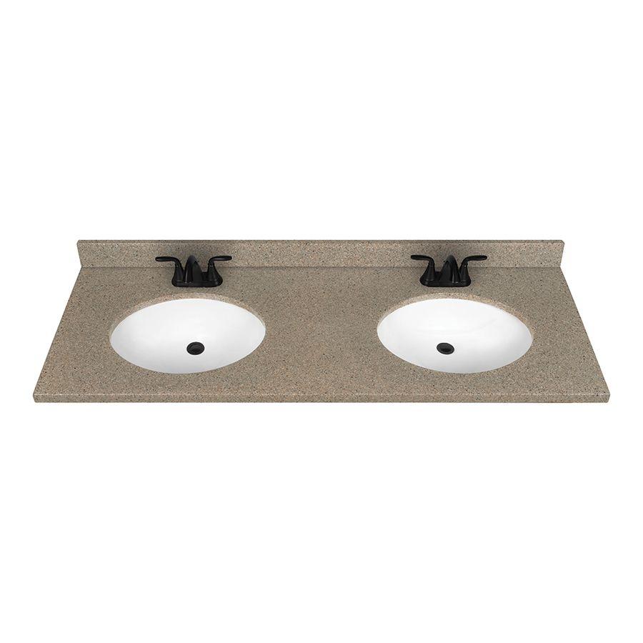 Nutmeg Solid Surface Integral Double Sink Bathroom Vanity Top (Common:  61 In X 22 In; Actual: 61 In X 22 In)