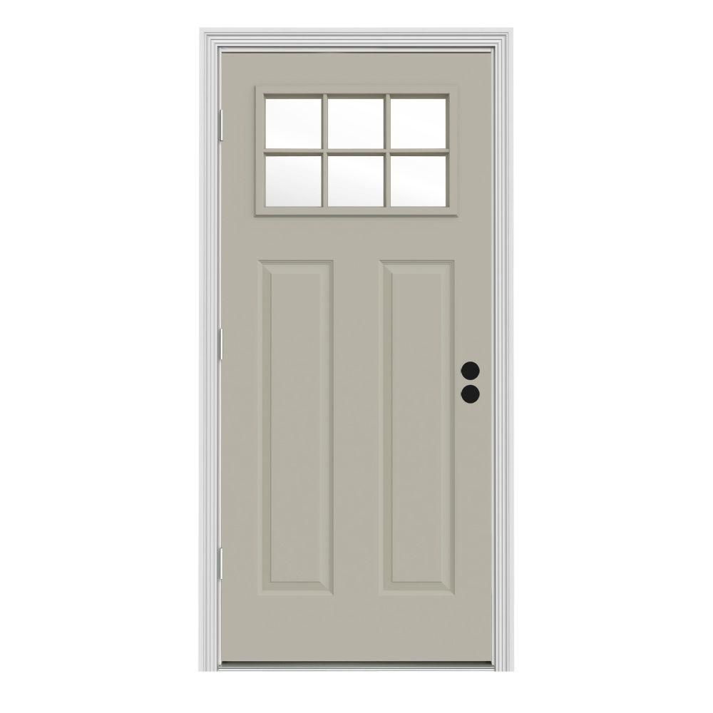 JELD WEN 34 In. X 80 In. Craftsman 6 Lite Painted Premium