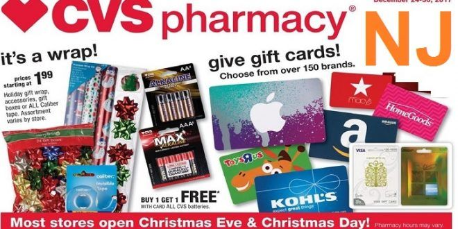 Is Cvs Open On Christmas.Cvs Weekly Ad New Jersey Christmas 12 24 Until 12 30 2017