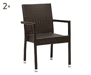 Sedie Midollino ~ Set di sedie in alluminio e vimini mari moka cm