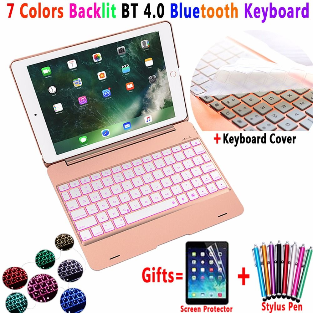 7 color backlit aluminum alloy wireless bluetooth keyboard