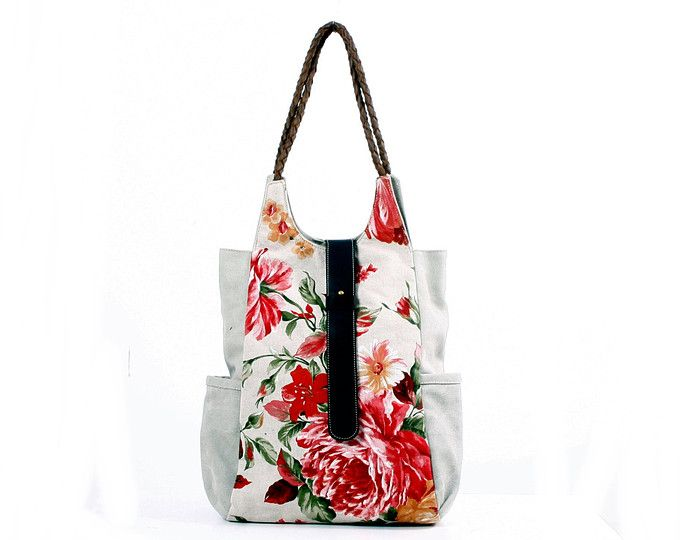 ea7e84f628c4 Flowered Upholstery fabric and leather tote bag  Personalized Tote Bag   Hobo  canvas Bag
