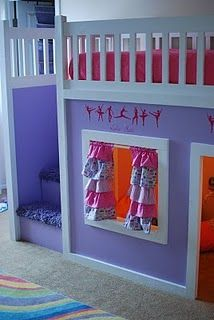Loft bed with storage in the stairs. Want to do this for Madison's room so bad.