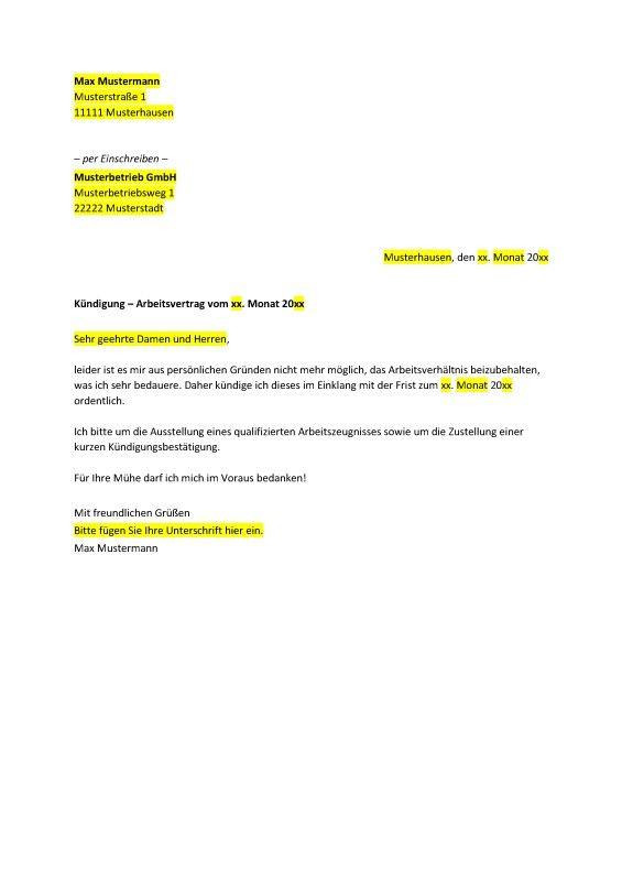 kndigungsschreiben vorlage kostenloser download kndigungsschreiben vorlagen muster pinterest - Arbeitsvertrag Kundigen Muster
