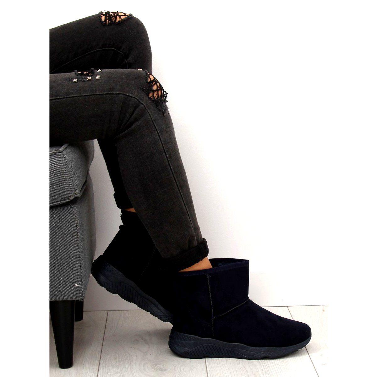Sniegowce Damskie Granatowe D009 Blue Fashion Pantsuit Black Jeans
